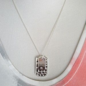 New Ralph Lauren Silver Dog Tag Slider Necklace